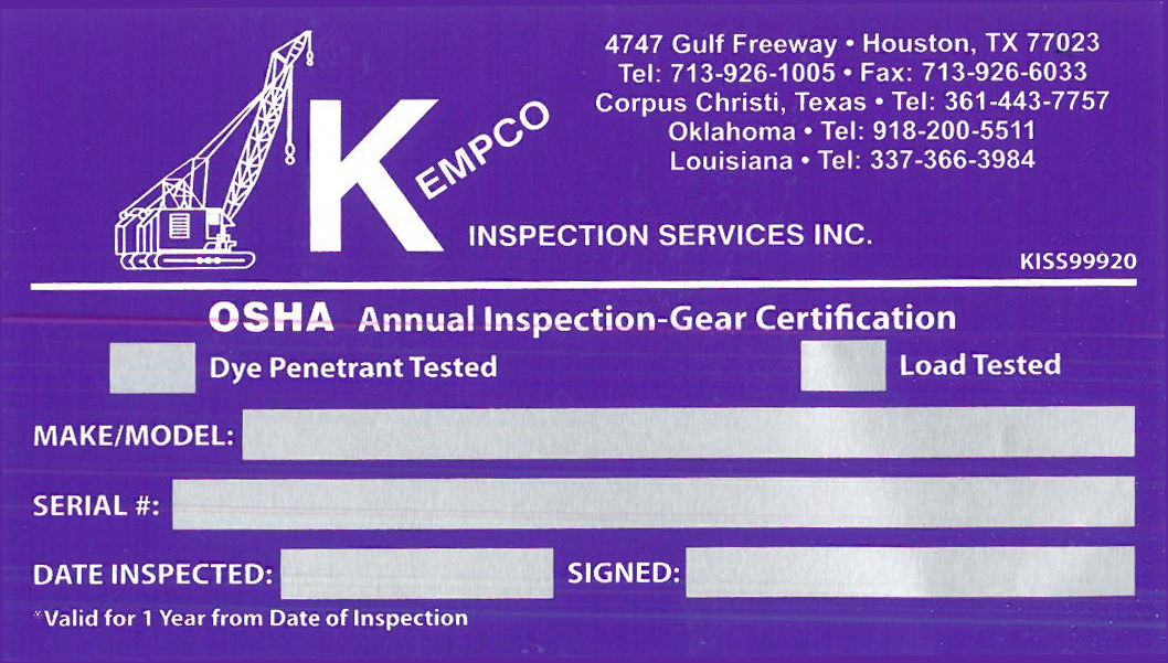 Texas Inspection Sticker >> Forms | Kempco Inspection Services
